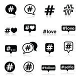 Hashtag, social media icons set Royalty Free Stock Photo