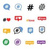 Hashtag, Social Media-Ikonen eingestellt Stockfotografie