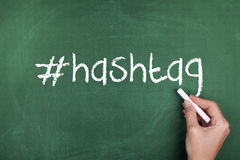 Hashtag Social Media Sign. On chalkboard Royalty Free Stock Photos