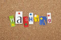 Hashtag Social Media Sign. Hashtag Single letters pinned on cork board Stock Photo