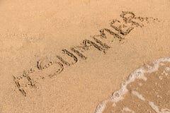 Hashtag Summer On Sandy Summer Beach Royalty Free Stock Photos