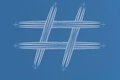 Hashtag symbol i himlen royaltyfri foto