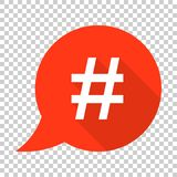 Hashtag vector icon in flat style. Social media marketing illustration on isolated transparent background. Hashtag network. Concept vector illustration