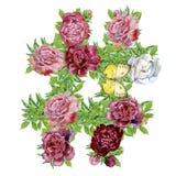Hashtag-Zeichen von Aquarellblumen für Dekoration stock abbildung