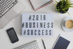 Hashtags 2016 del éxito empresarial Fotos de archivo libres de regalías