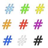 Hashtags oder Pfund-Symbol-oder Zahl-Zeichen Lizenzfreie Stockbilder