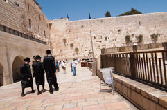 Hasidic Jews at Western Wall Stock Photo
