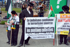 Hasidic Orthodox. MONTREAL CANADA AUGUST 21:Unidentified people form jewish Hasidic Orthodox Judaism, participating in a rally to condemn the Israel occupation Royalty Free Stock Images