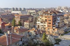 Amazing panoramic view of City of Haskovo - from Monument of Virgin Mary , Bulgaria Royalty Free Stock Photography