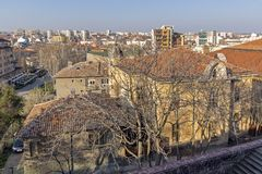 Amazing panoramic view of City of Haskovo - from Monument of Virgin Mary , Bulgaria Stock Photos