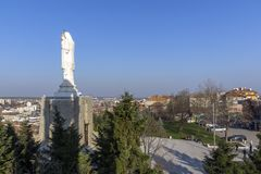 The biggest Monument of Virgin Mary in the world and panorama to City of Haskovo, Bulgaria Royalty Free Stock Photography