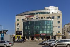 Business Building in the center of City of Haskovo, Bulgaria. HASKOVO, BULGARIA - MARCH 15, 2014: Business Building in the center of City of Haskovo, Bulgaria royalty free stock photos