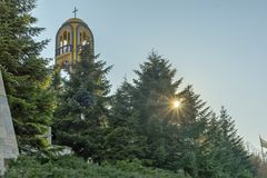 Church bell tower near Monument of Virgin Mary in City of Haskovo , Bulgaria Royalty Free Stock Images
