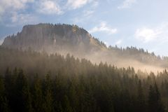 Hasmas Mountains View, misty in the morning Royalty Free Stock Photos