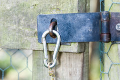 Hasp on chicken coup Stock Image