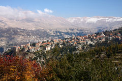 Hasroun, Lebanon. The picturesque village of Hasroun with its traditional red tile roof houses, seen here just below Qornet el-Sawda, at 3088m,the highest Royalty Free Stock Photo
