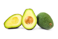 Hass avocado and cross sections Royalty Free Stock Image
