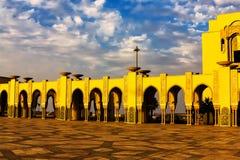 Hassan II meczet na plaży Casablanca przy zmierzchem, Maroko Obrazy Stock