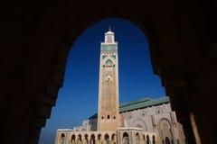 Hassan II moské under den blåa himlen i Casablanca, Marocko Royaltyfri Foto