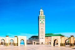 Hassan II Moskee in Casablanca, Marokko Royalty-vrije Stock Foto's