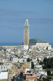 Hassan II moskeecityscape mening Casablanca Marokko Royalty-vrije Stock Foto's