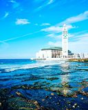 Hassan II Mosque,Blue beach Royalty Free Stock Photos