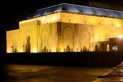 Hassan II mosque Casablanca Morocco night Stock Photos