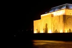 Hassan II mosque Casablanca Morocco at night royalty free stock photo