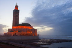 Hassan II Mosque in Casablanca in night Royalty Free Stock Images