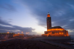 Hassan II Mosque in Casablanca in night Stock Image