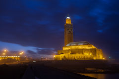 Hassan II Mosque in Casablanca in night Stock Photography