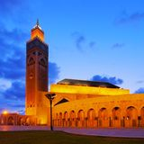 Hassan II Mosque in Casablanca. Night view of Hassan II Mosque in Casablanca, Morocco, Africa Royalty Free Stock Photos