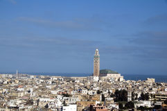 Hassan II mosque cityscape view casablanca morocco Royalty Free Stock Images