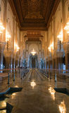 Hassan II Mosque interior corridor with columns in Casablanca. Arabic arches, ornaments, chandelier and lighting Stock Photo