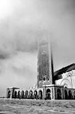The Hassan II Mosque in mist, located in Casablanca Royalty Free Stock Photography
