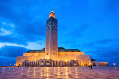 Hassan II Mosque. The Hassan II Mosque at the night in Casablanca, Morocco. Hassan II Mosque is the largest mosque in Morocco and one of the most beautiful Royalty Free Stock Images