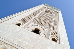 Hassan 2nd mosque minaret. Minaret of Hassan 2nd mosque in Morocco Stock Photos