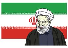 Hassan Rouhani Vector Portrait Drawing Cartoon Caricature Illustration with Flag of Iran. October 11, 2017 Royalty Free Stock Image