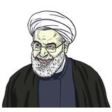 Hassan Rouhani Vector Portrait Drawing Cartoon Caricature Illustration. October 11, 2017 Royalty Free Stock Photos