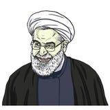 Hassan Rouhani Vector Portrait Drawing-de Illustratie van de Beeldverhaalkarikatuur 11 oktober, 2017 Royalty-vrije Stock Foto's