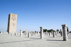 Hassan tower. The  is a formidable sight in the distance, it stands tall and proud against the North African sun and has done since the latter part of the 12th Stock Images