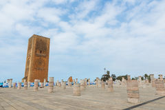 Hassan Tower at Mausoleum of Mohammed V in Rabat Stock Image