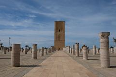 Hassan Tower, minaret of an uncompleted mosque begun in 1195, Rabat, Morocco, North Africa. Symmetry Stock Image