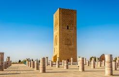 Hassan Tower nära mausoleet Mohammed V i Rabat - Marocko Arkivfoton