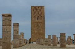 Hassan Tower Rabat, Morocco. Hassan Tower or Tour Hassan Arabic: صومعة حسان is the minaret of an incomplete mosque in Rabat, Morocco. Commissioned by Stock Photography