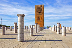 Hassan Tower in Rabat Morocco. Marocco,Rabat. The Hassan Tower opposite the Mausoleum of King Mohamed V Stock Photography