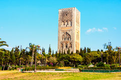 Hassan tower in Rabat, Morocco. Hassan tower in the square with stone columns. Made of red sandstone, important historical and tourist complex in Rabat, Morocco stock photography