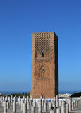 Hassan Tower and Roman Columns at Mausoleum of Mohammed V Stock Photos