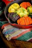Hasselbackbieten, wortelen en aardappels royalty-vrije stock fotografie
