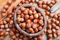 Hasselnötter i en korg Royaltyfri Fotografi